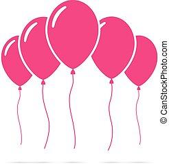 Set of pink balloons
