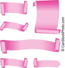 set of pink banners