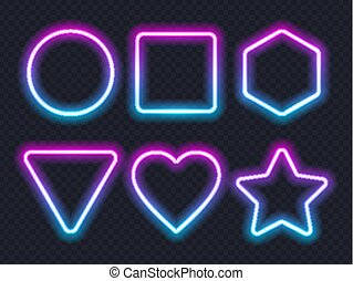 Set of pink blue glowing neon frames on dark background.