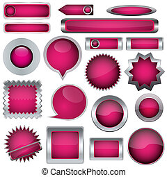 set of pink buttons