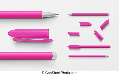 Set of pink colored office pens and caps