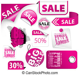 Set of pink discount elements - Set of pink discount tickets...
