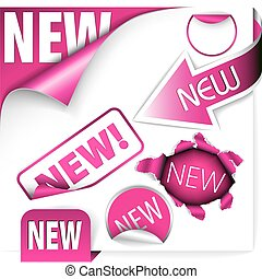 elements for new items in eshop - Set of pink elements for...