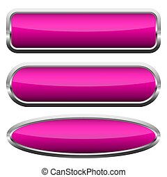 Set of pink glossy buttons. Vector illustration.