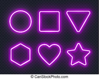 Set of pink glowing neon frames on dark background.