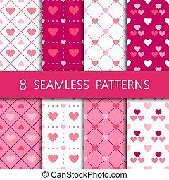 Set of pink heart seamless pattern, vector illustration