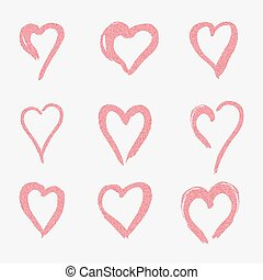 set of pink hearts in doodle style, the logo, a symbol of love on white background. use in the design, design element, emblem. vector illustration.