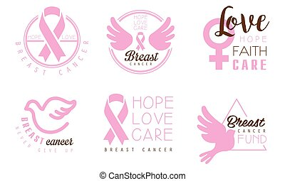 Set of pink logos with inscriptions in support of cancer patients. Vector illustration on a white background.