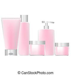 set of pink packaging for cosmetics