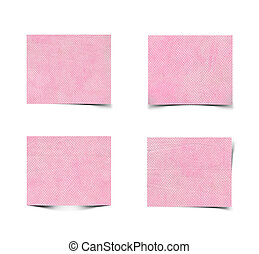 Set of pink paper isolated on white background