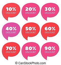 Set of pink percent discount speech bubble, sale vector illustration