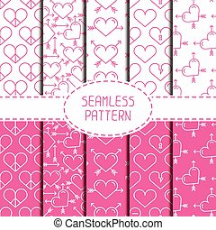 Set of pink romantic geometric seamless pattern with hearts. Collection of paper for scrapbook. Wrapping paper. Vector background. Tiling. Stylish graphic texture for design, wallpaper.