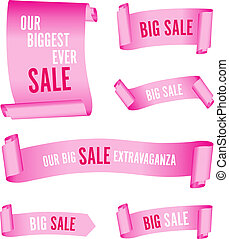 set of pink sale banners