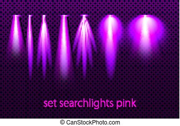 Set of pink searchlights on a transparent background. Bright lighting with spotlights. The searchlight is purple. vector illustration