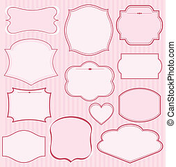 Set of pink vector frames and ornaments with text. Perfect as invitation or announcement