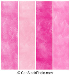 Set of pink watercolor abstract