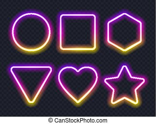 Set of pink yellow glowing neon frames on dark background.