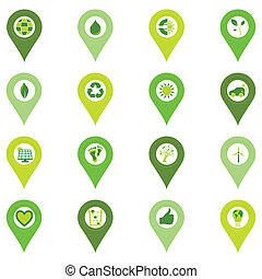 Set of pinpoint icons of bio eco environmental related...