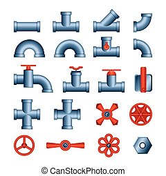 Set of pipes and valves - modern vector isolated clip art on...