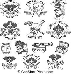 Set of pirate emblems isolated on white background. Design elements for logo, label, emblem, sign. Vector illustrations.