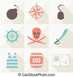 Set of pirate icons. Vector illustration.