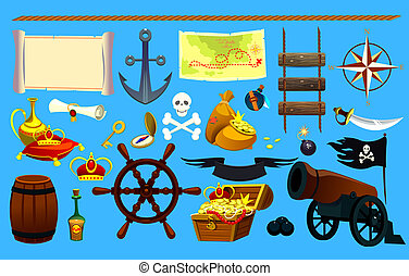 set of pirate items, graphic elements. Logo Icon