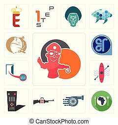 Set of pirate mascot, hunger, turbo, gun shop, tv remote, kayak, cash on delivery, er, hamster icons