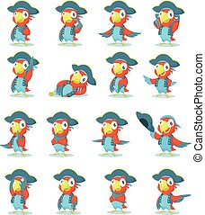 Set of pirate parrot