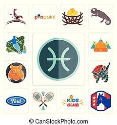 Set of pisces, democratic party, kids club, badminton, f, judo, bengal tiger, norse, football icons
