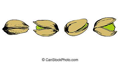 set of color pistachio