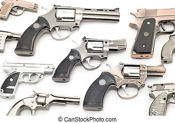 Set of pistols lighter - object on white tool - pistol ...