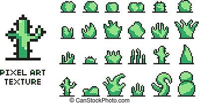 Set of pixel art green bushes on white background 8 bit isolated vector illustration