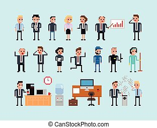 Set of pixel art people icons, office work vector illustration isolated