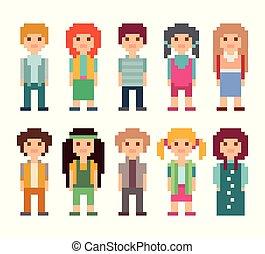 Set of pixel art people icons