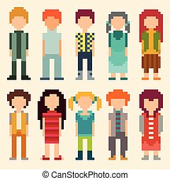 Set of pixel art people