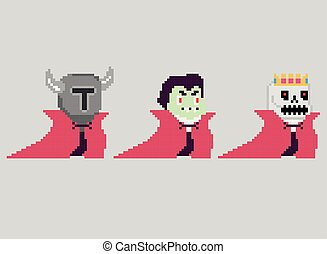 Set of pixel characters in art style