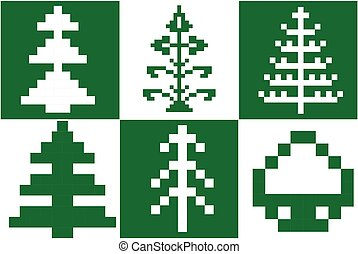 Set of Pixel Christmas trees vector