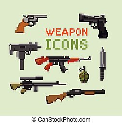 Set of pixelated weapon and gun icons