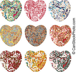 Set of pixel hearts