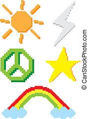 set of pixel icon