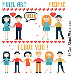 Set of pixel people, words, hearts.