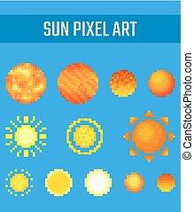 Set of pixel sun on blue background