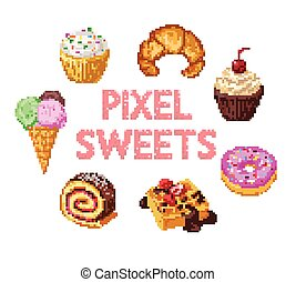 Set of pixel sweets