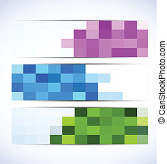 Set of colorful pixelated banners. Abstract illustration