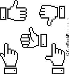Set of pixelated hand icons.