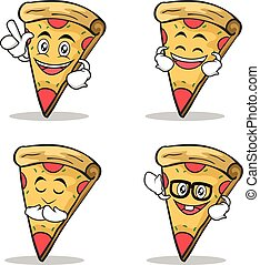 Set of pizza character cartoon expression