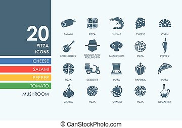 Set of pizza icons