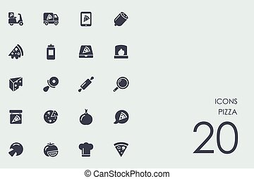 Set of pizza icons - pizza vector set of modern simple icons