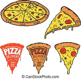 Set of pizza illustrations isolated on white background....