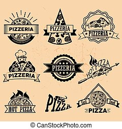Set of Pizza Labels in vintage style. Icons, badges, emblems and design elements for pizzeria restaurant.